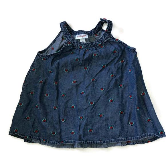Cat & Jack Watermelon Chambray Shirt Top Size 4T